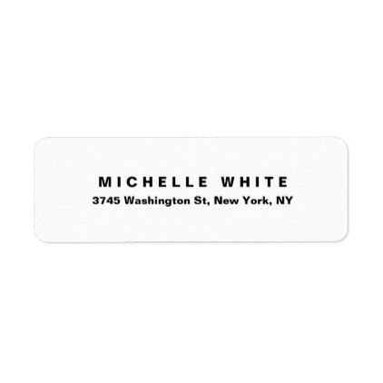 Plain Elegant Modern Minimalist Black White Bold Label Template - Plain address labels template