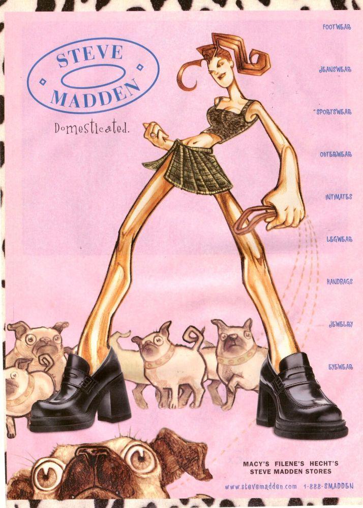 1998 Steve Madden Shoes Illustrated Print Ad Vintage Advertisement VTG 90s