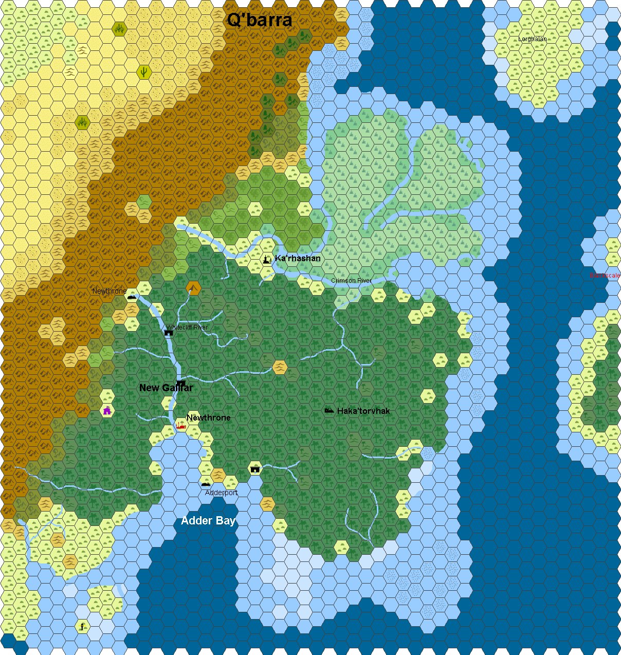 Hex Map Of Q Barra Created In Hexographer Free And Pro Versions Available At