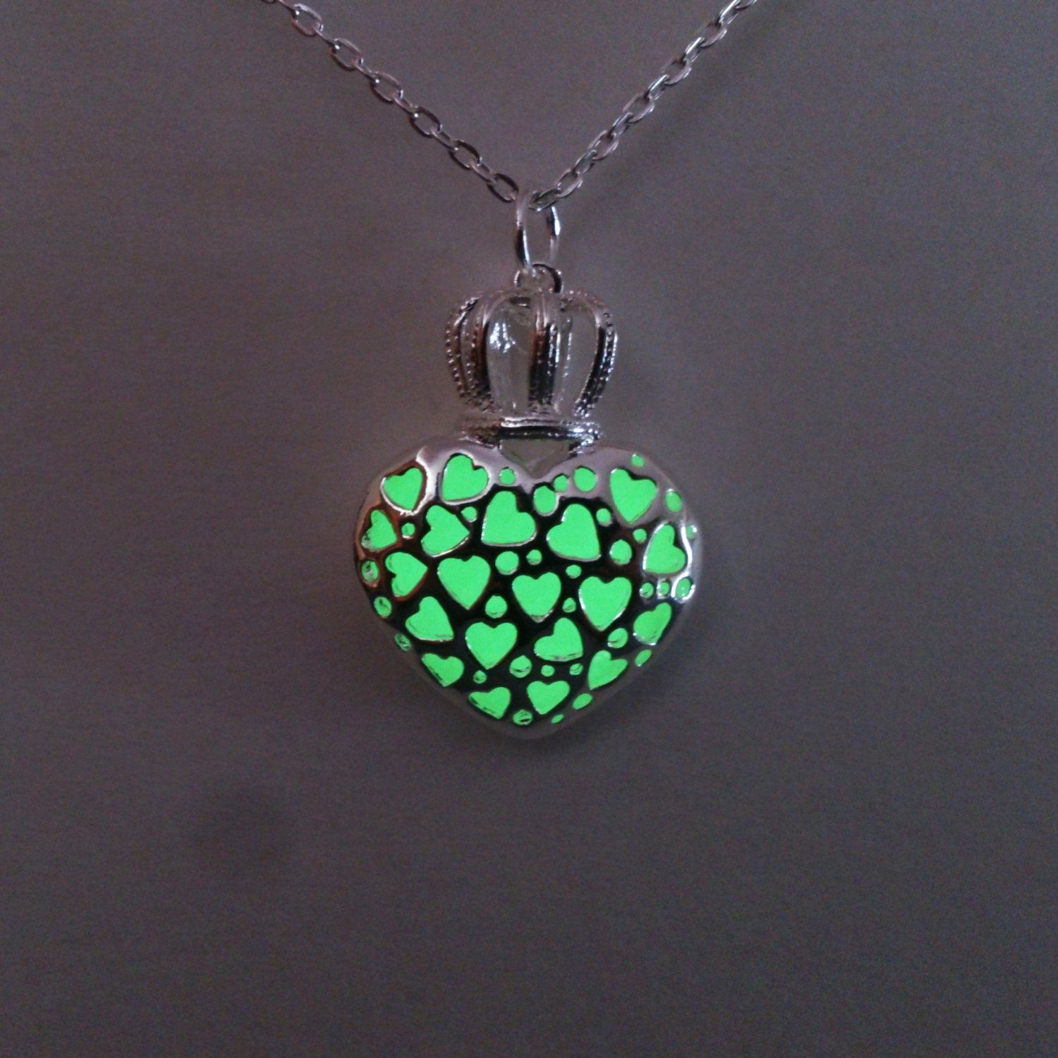 glowing plated from in silver jewelry necklaces vintage item hollow pendant pierced locket drop luminous water glow for dark women necklace