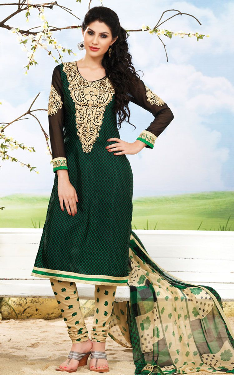 Green and cream salwarchuridhar kameez pinterest clothes