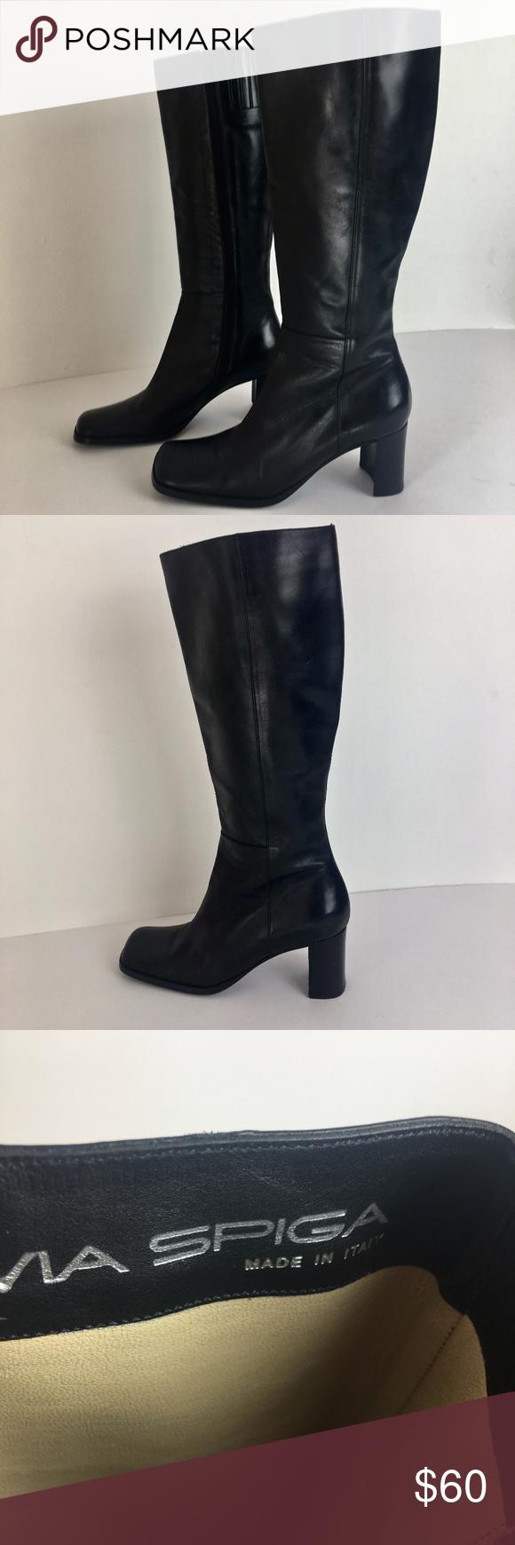 Via Spiga black leather boots square