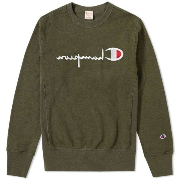 fab45d0b Champion Reverse Weave Reverse Terry Crew Sweat ($99) ❤ liked on Polyvore  featuring tops, hoodies, sweatshirts, olive top, crew neck top, army green  ...