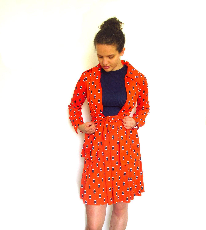 S dress u jacket orange and blue stewardess by itchforkitsch