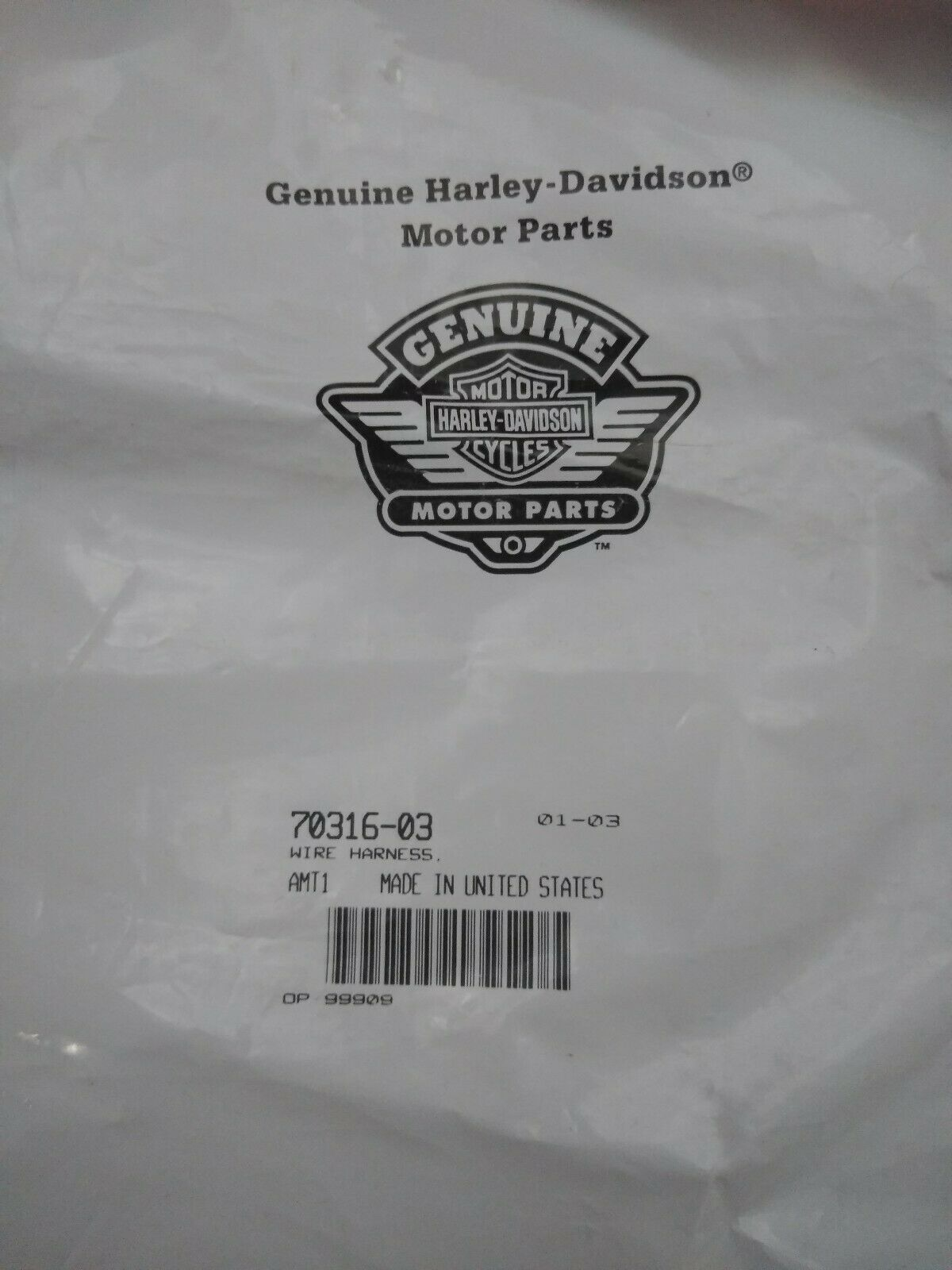 New Harley Davidson License Plate Wire Harness / 70316-03 ... on