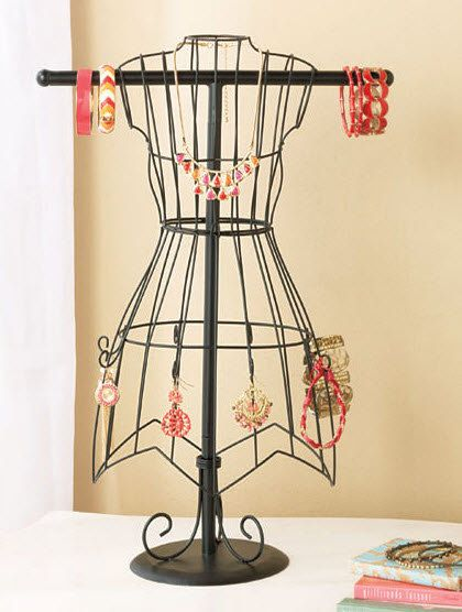 French Wire Tabletop Dress Form Jewelry Organizer Almost 2ft Height
