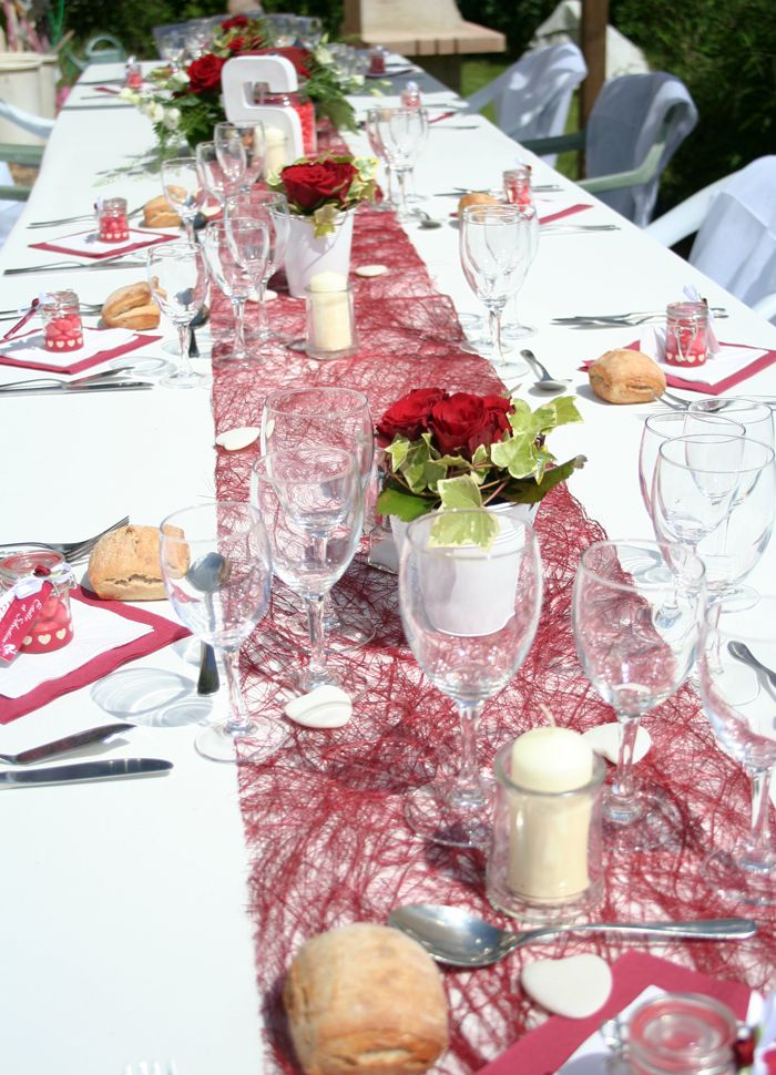Mariage rouge et blanc Deco de table Pinterest
