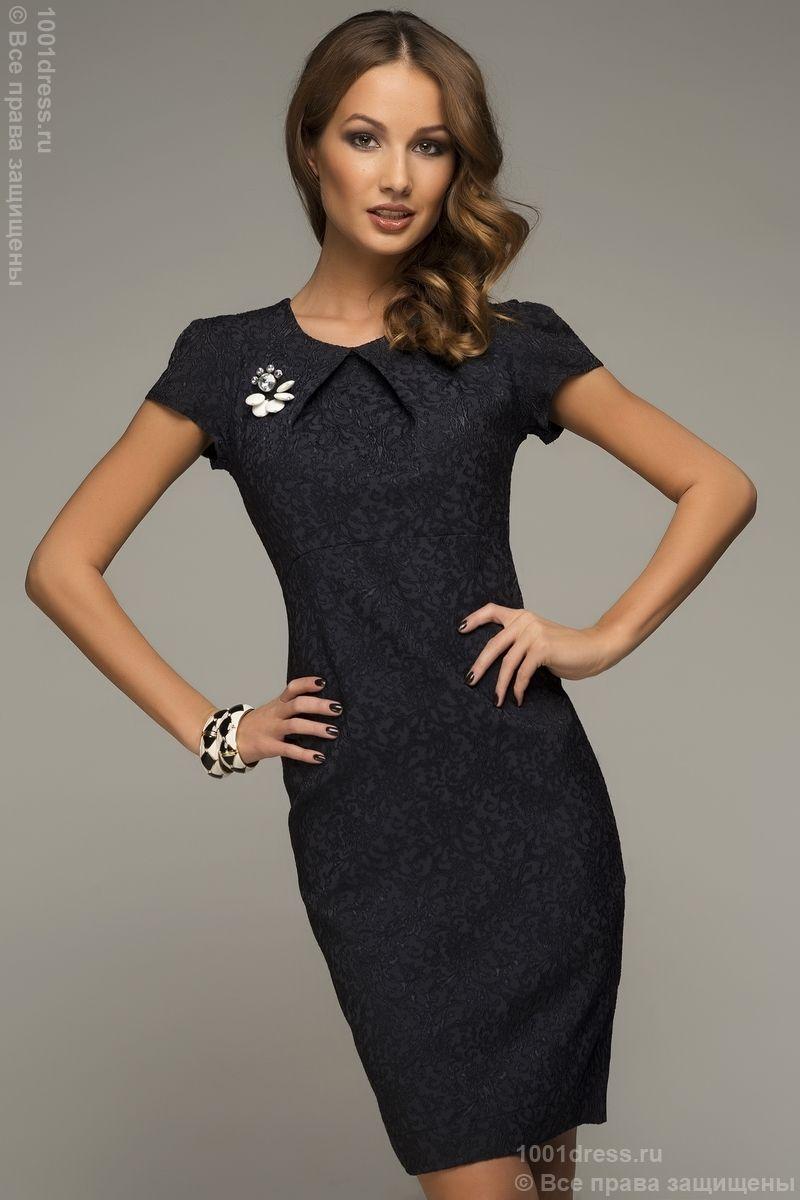452b982d2ba Платье темно-синее с узором и коротким рукавом