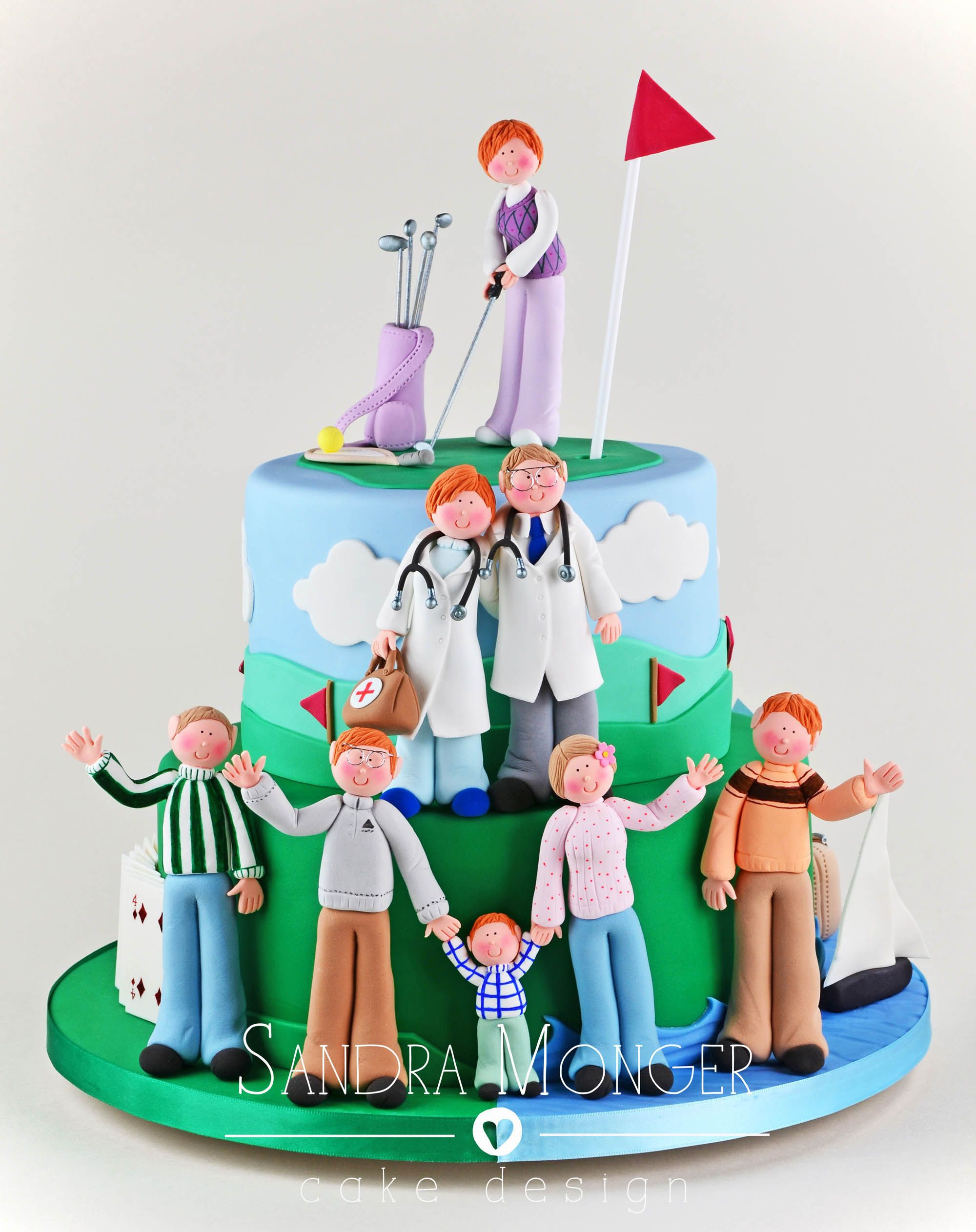 Hobby Birthday Cake - golf, tennis, bridge, sailing, family!