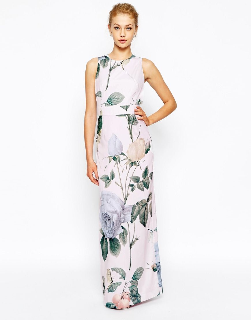 Ted baker pleated maxi dress asos