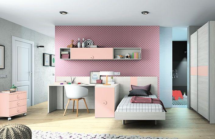 Moderno dormitorio juvenil, fabricado con tablero de partículas de ...