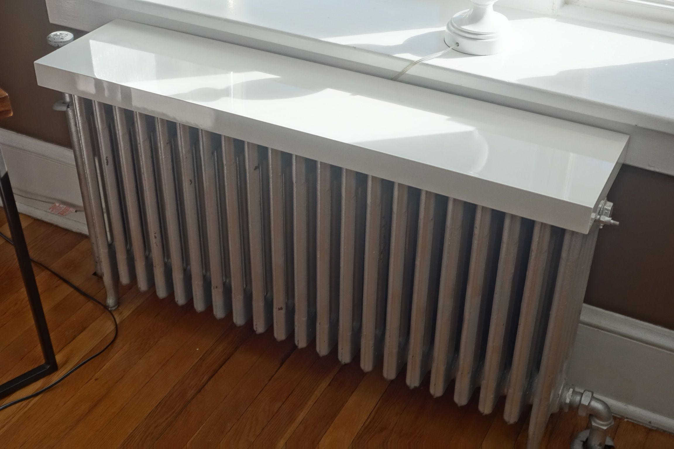 Ikea Lack Shelf On Top Of Our Old Radiator Clean And Functional
