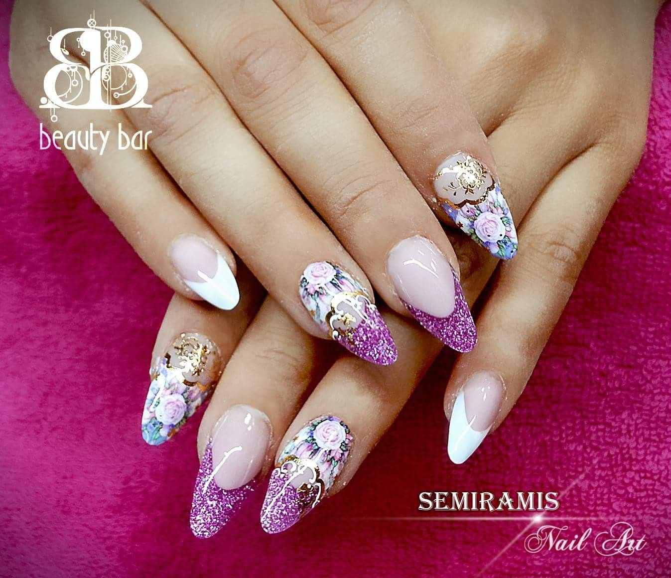 French nails with glitter on the free edge, water sticker | köröm ...
