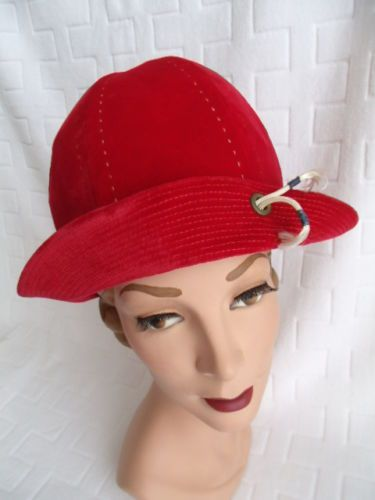 19f2c34a2cef4 on ebay Vintage-70s-MAMSELLE-GREENWICH-VILLAGE-Ladies-Hat -SPORTY-Candy-Apple-RED-VELVET