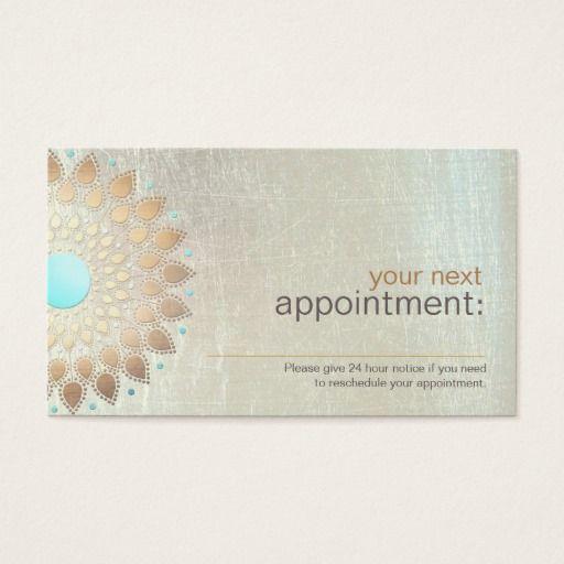 Gold Lotus Salon and Spa Appointment Card Design de cartão