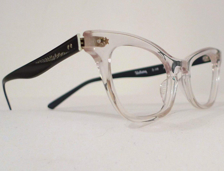 victory optical black and clear horn rimmed cat eye frames eyeglass aluminum combo cateye eye glasses or sun glasses superb designer nos