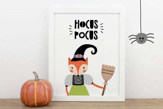 hocus pocus printable, hocus pocus digital decor, WITCH FOX - print halloween decorations