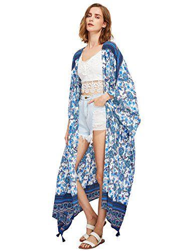 20dda966f12 SweatyRocks Women s Tassel Trim Maxi Kimono Cardigan Long Beach Cover Up  One Size  Size Chart b p Green bbr p One Size  inch