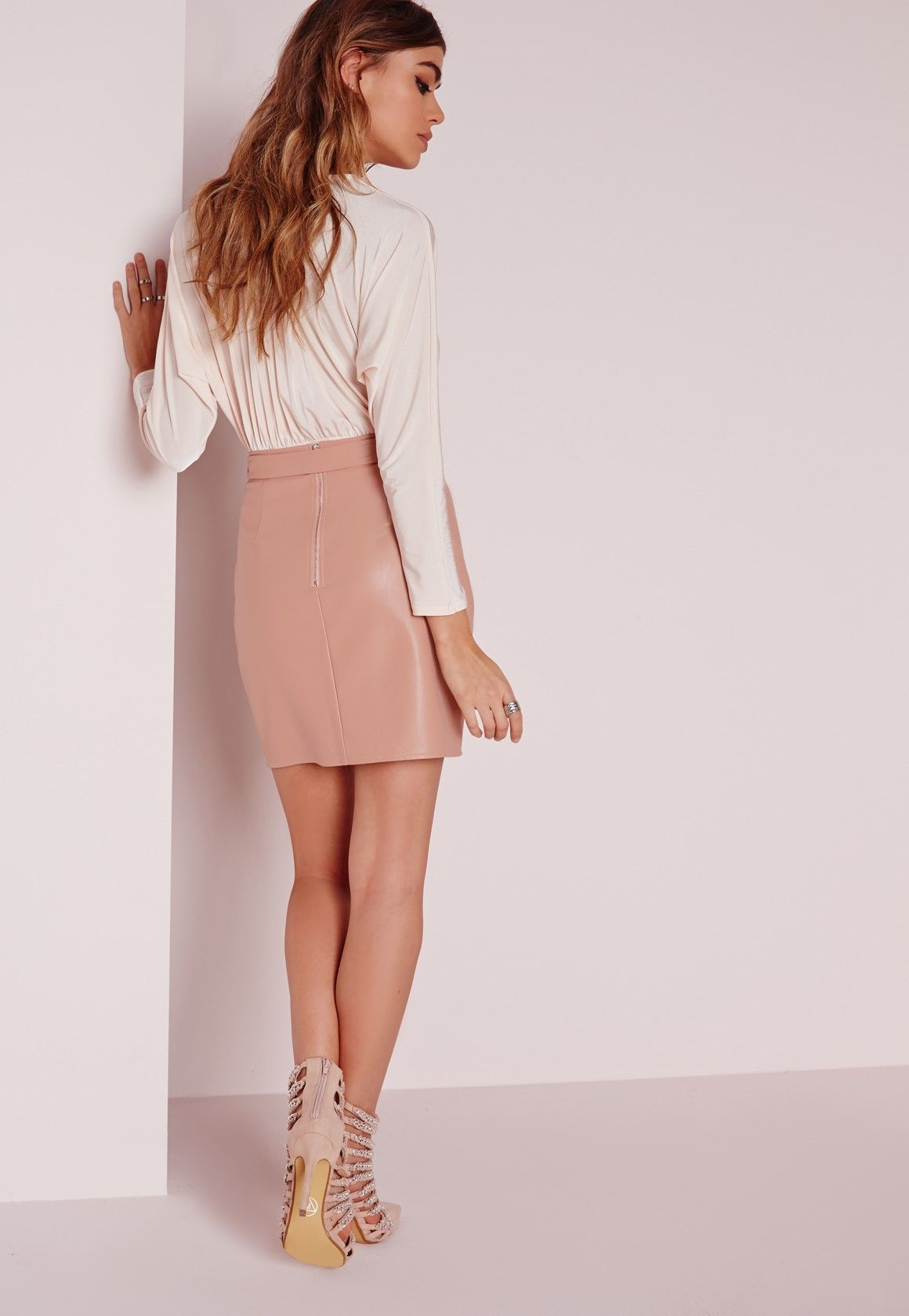 Missguided - Buckle Detail Faux Leather Mini Skirt Nude Pink ...