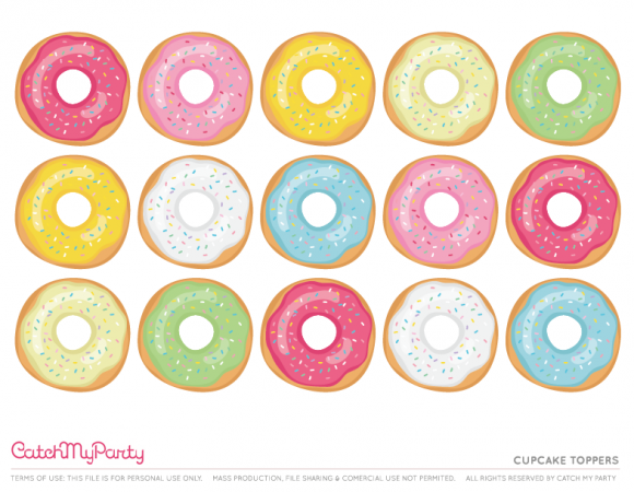image regarding Donut Printable named Free of charge Donut Celebration Printables Cupcake Toppers CatchMyParty