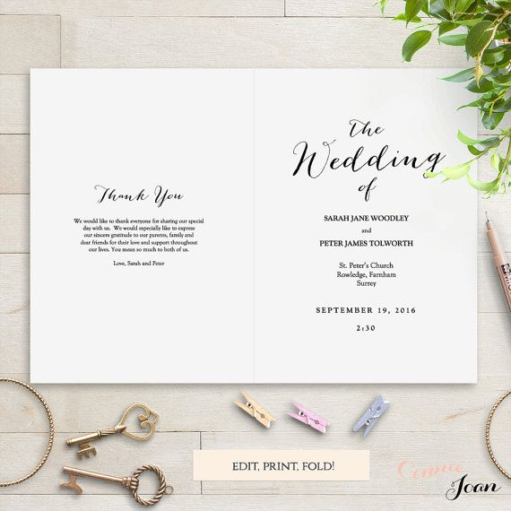 Folded Wedding Program Template Modern Sweet By ConnieAndJoan