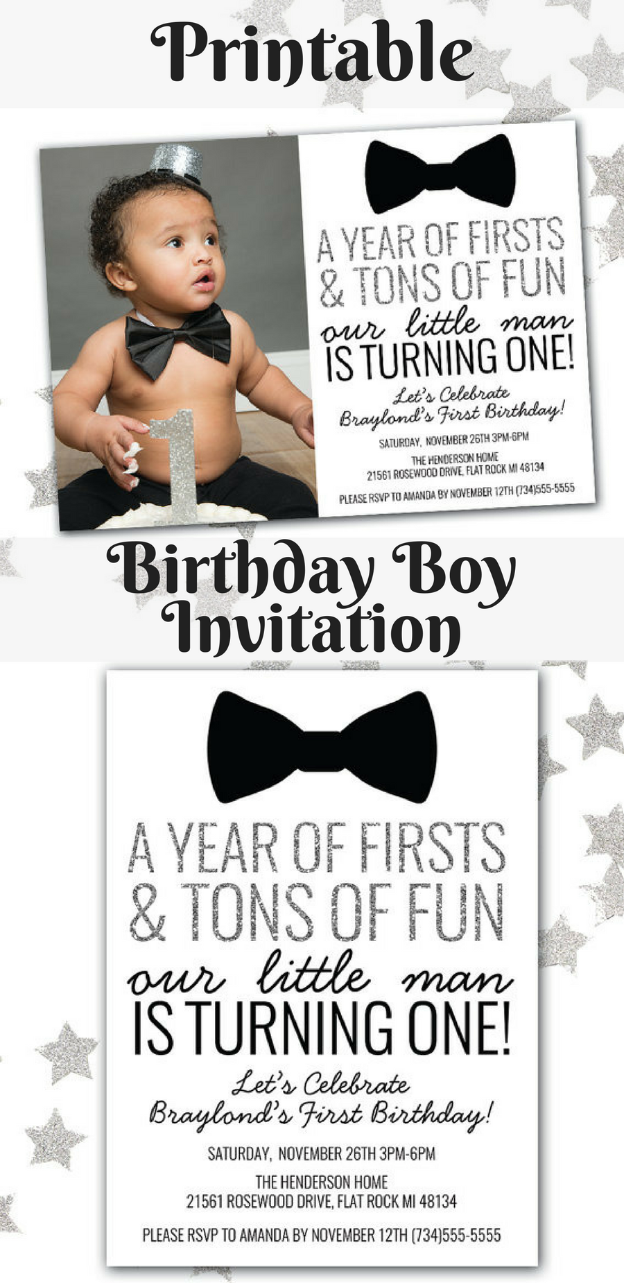 Super Cute Baby Boy\'s 1st Birthday Invitation | Birthday Boy ...
