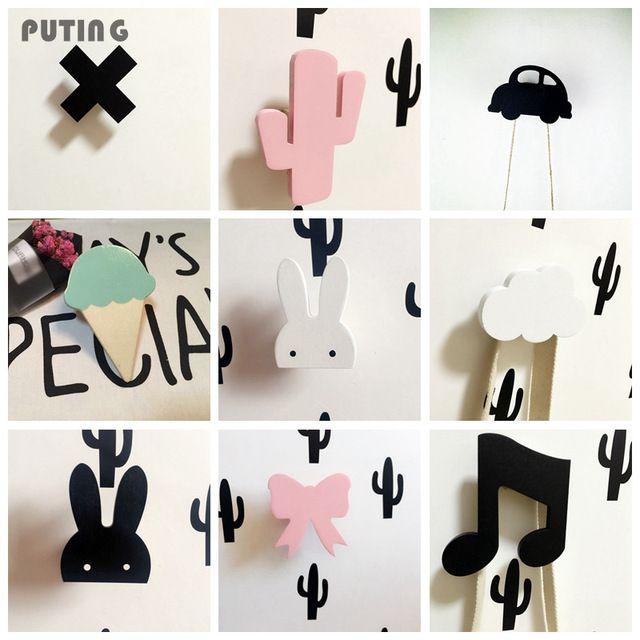 Leuke Bunny Houten Kleding Haak Voor Kinderkamer Muur Versieren