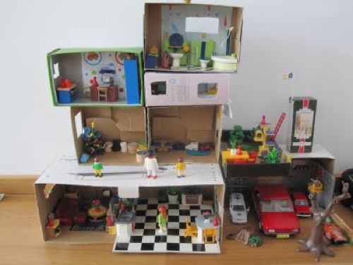 shoebox playmobil diy doll houses pinterest kinder bastelideen kinder und schuhkarton. Black Bedroom Furniture Sets. Home Design Ideas