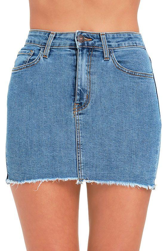 Pop and Lock Medium Wash Denim Mini Skirt