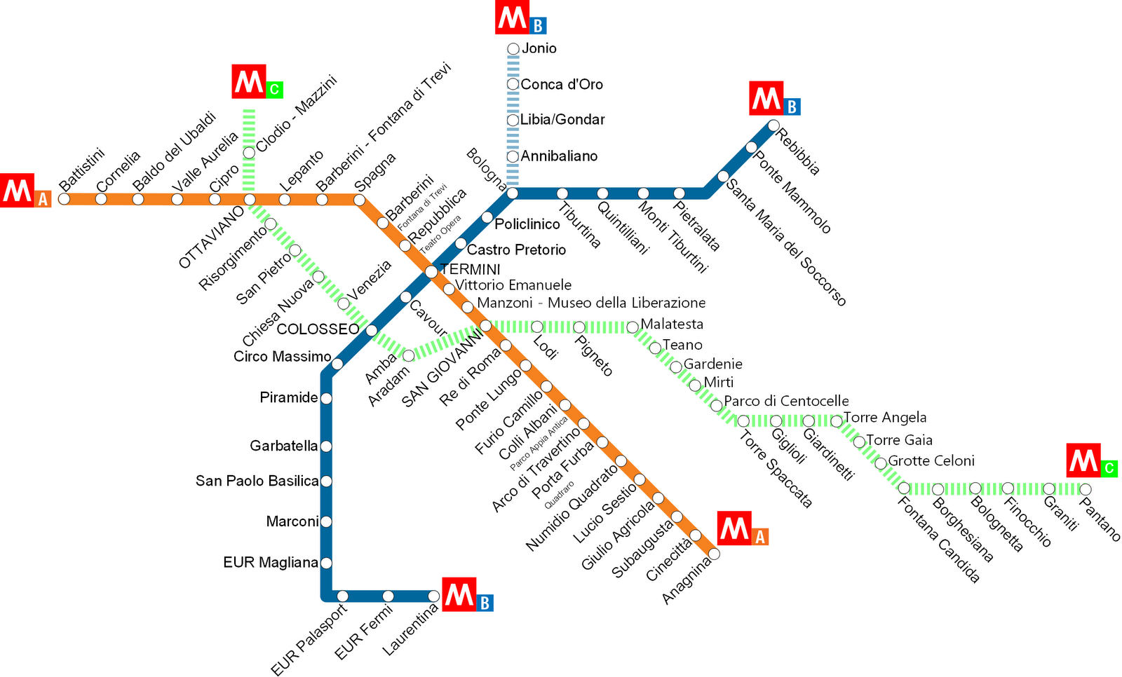 Rome Italy Subway Map.Complete Guide To The Rome Metro Subway Map Rome Subway Map