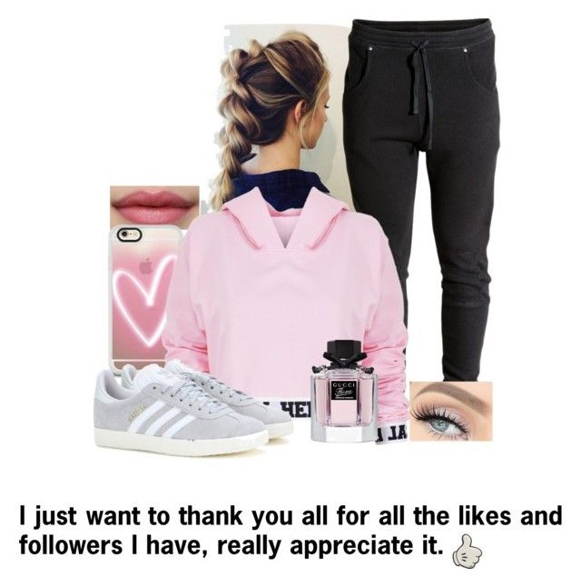 """""""Thank you xxxx"""" by aroushakhan ❤ liked on Polyvore featuring Casetify, Anya Hindmarch, Local Heroes, adidas and Gucci"""