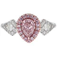 1 01 Carat Gia Cert Pink Pear Shape Diamond Two Color Gold