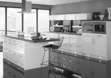 Elegant Apartment Kitchen Set Design With Grey Gloss Acrylic