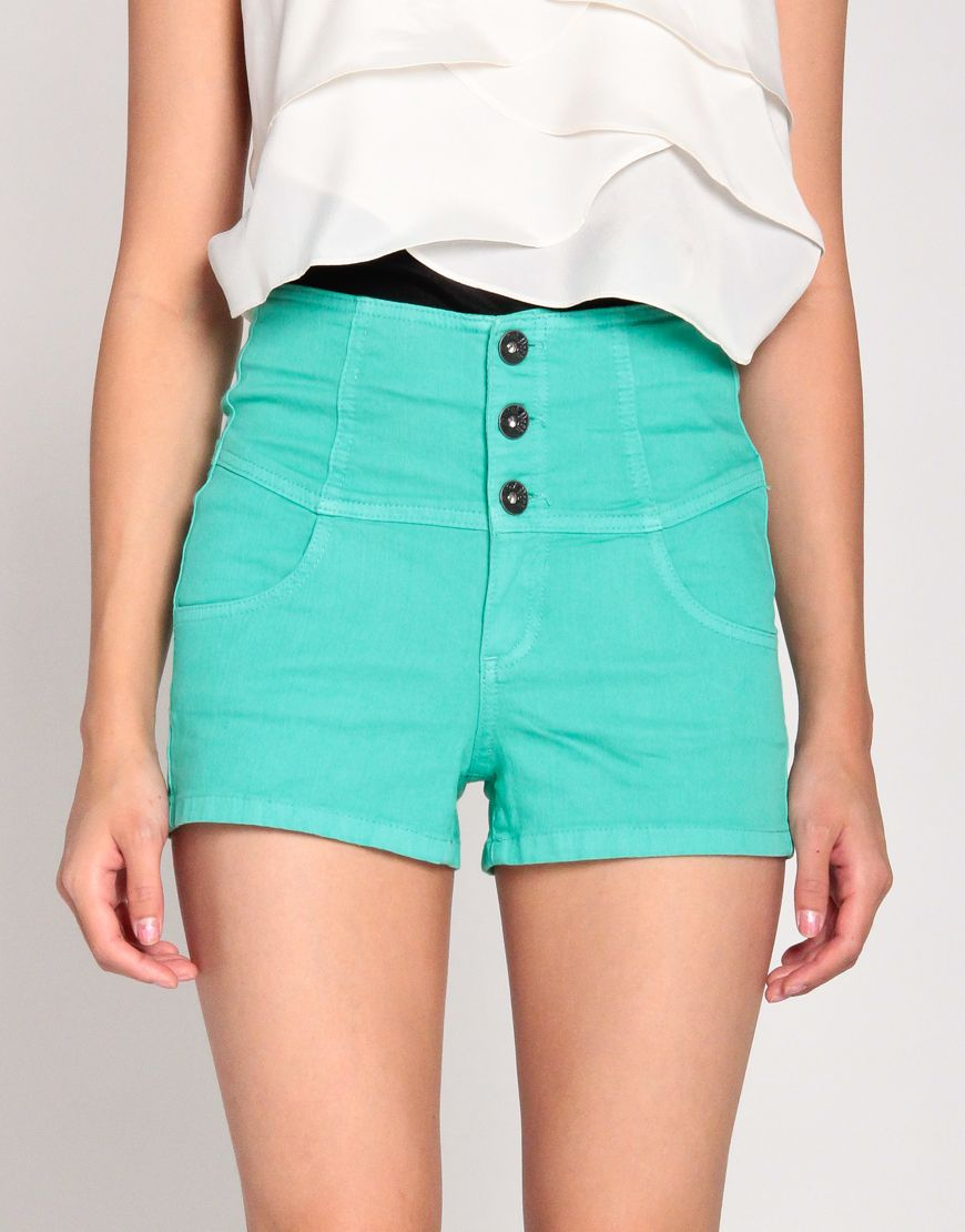 High Waisted Three Button Shorts in Green