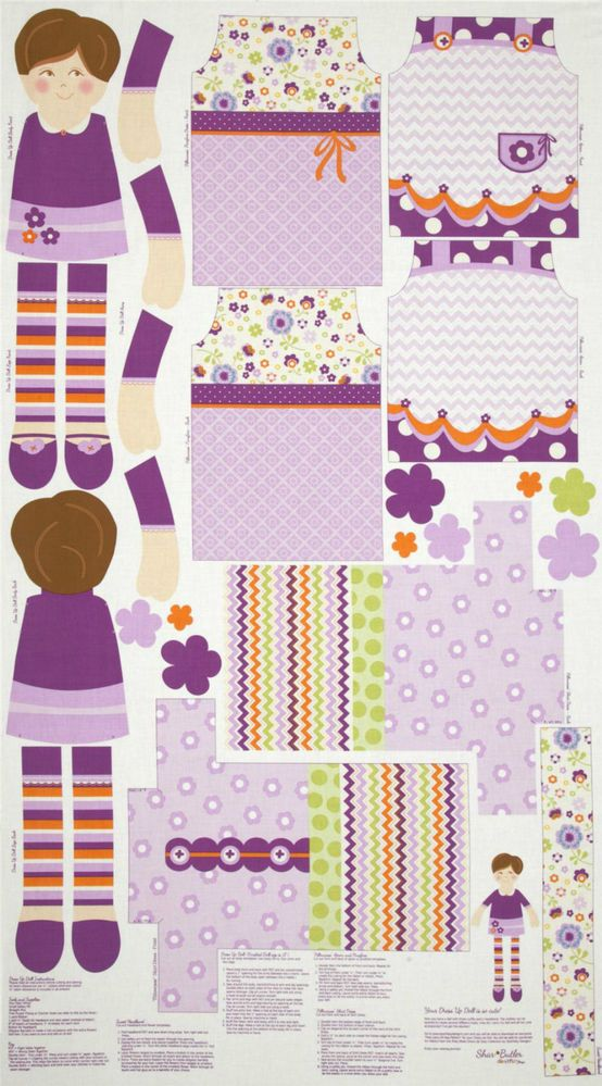 A KEEPSAKES DRESS UP DAY DOLL'S CLOTHES RAG DOLL FABRIC PANEL #7 #RileyBlake