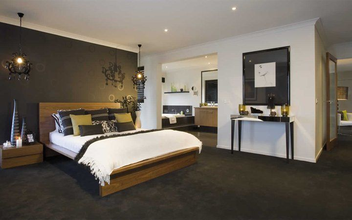 Love wall colours, with the feature wall and dark carpet. | Dream ...