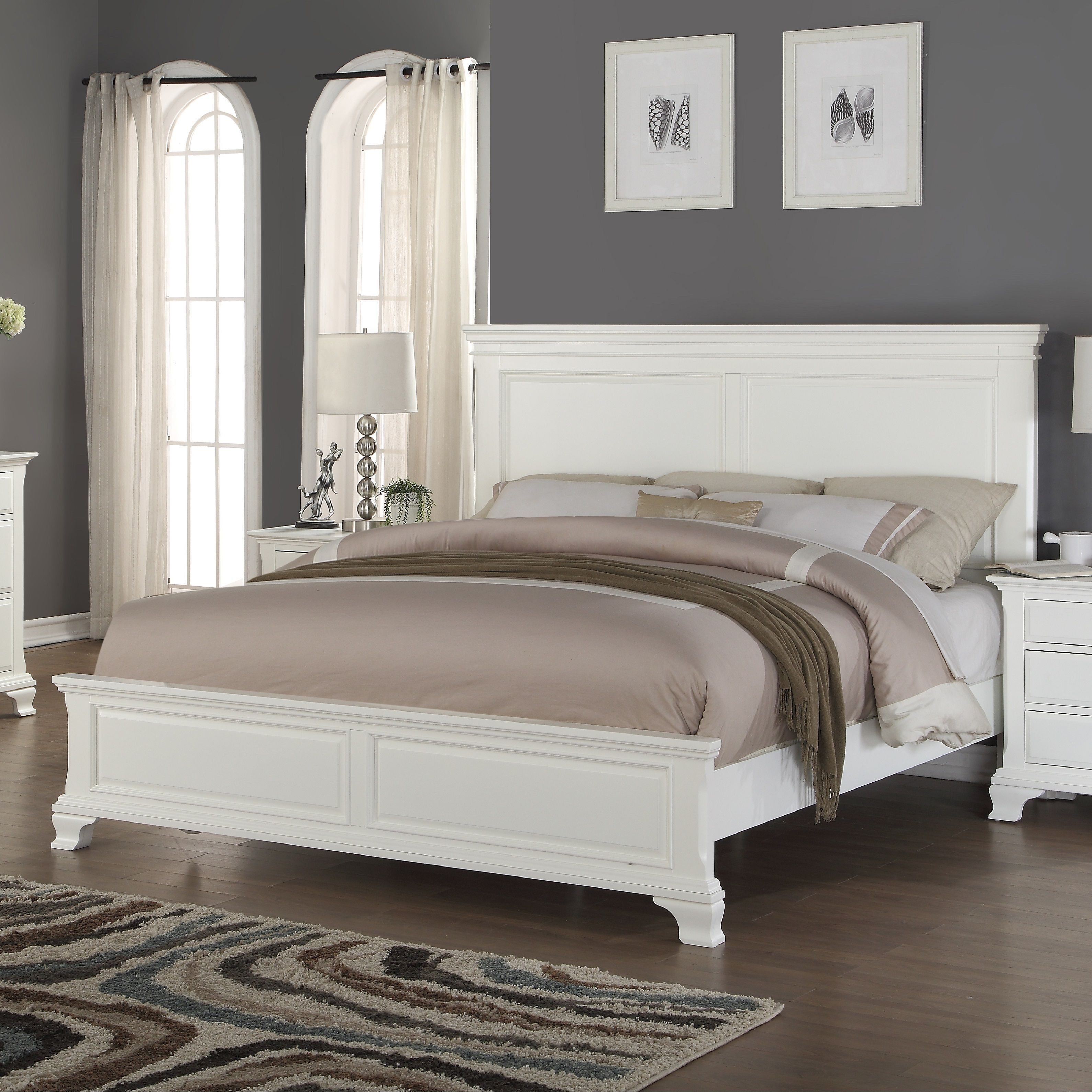 Make this white-finished wood panel bed the centerpiece of your ...