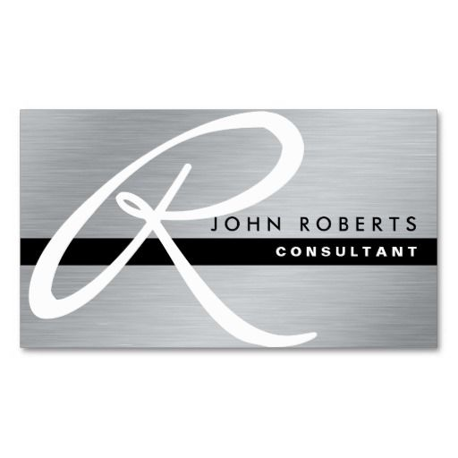 Monogram professional elegant modern silver metal double sided monogram professional elegant modern silver metal double sided standard business cards pack of 100 colourmoves