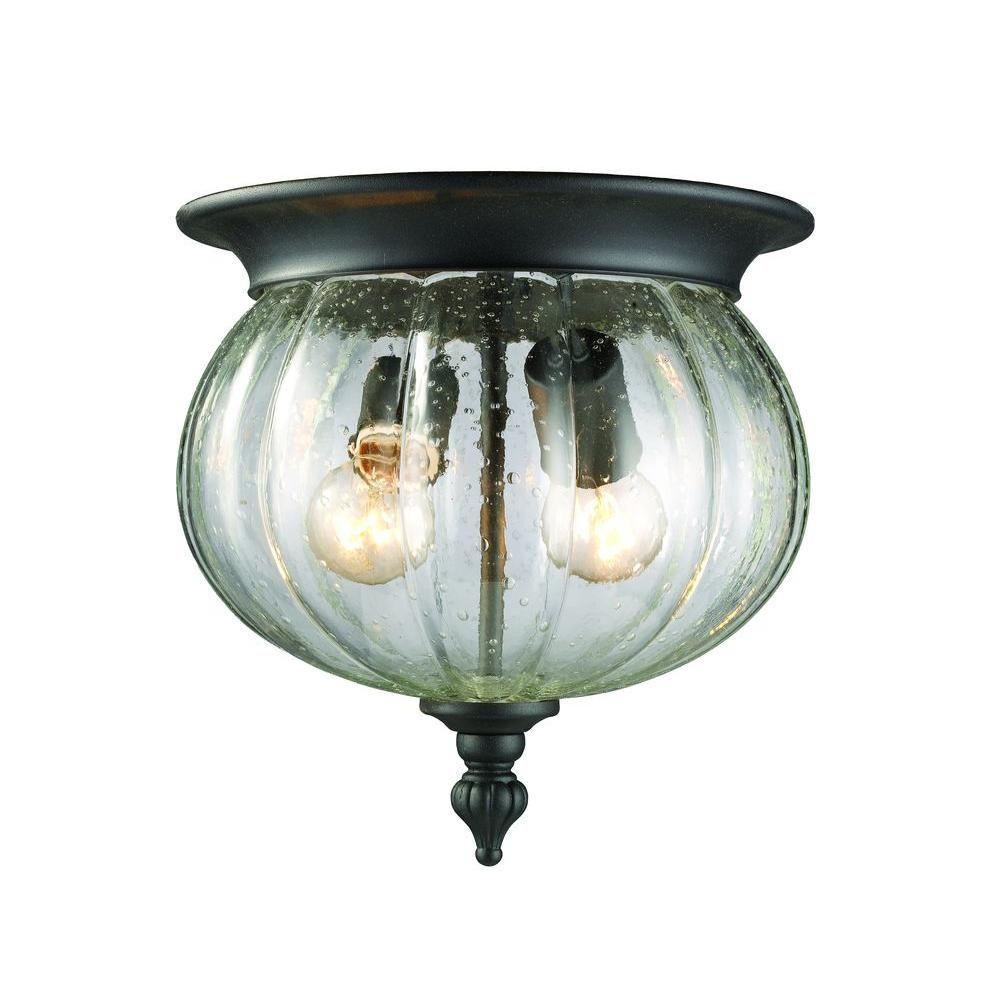Filament Design Lawrence 2-Light Black Outdoor Vintage Flush Mount ...