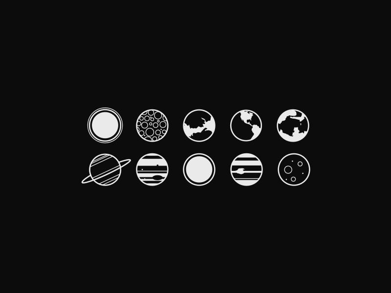 Minimal planet icons by Sven Szota