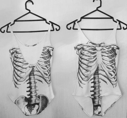 Skeleton swim suits.