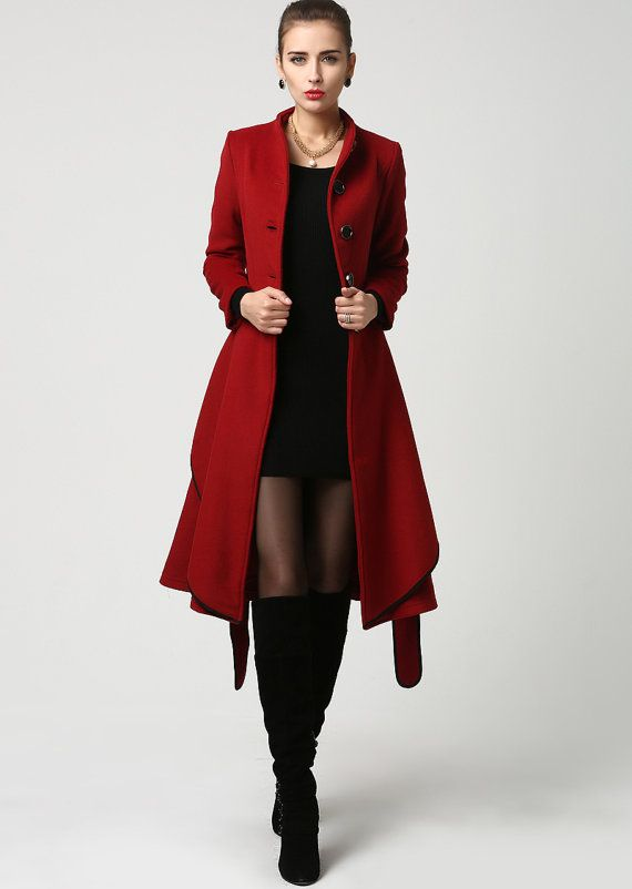 Elegant Women Overcoat Red Coat Women Short Red Coat Warm Coat Winter Coat Wool Coat Cashmere Coat Button Coat Plus Size Clothing