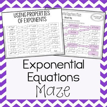 Exponential Equations Maze My Tpt Items Pinterest Algebra
