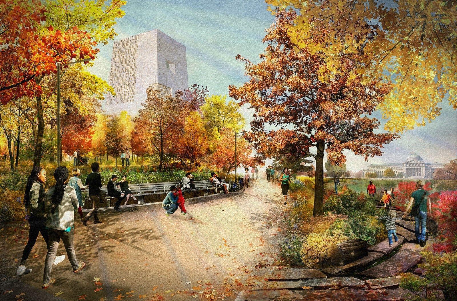 Rendering of the Obama Presidential Center (Gardens), Chicago | New ...