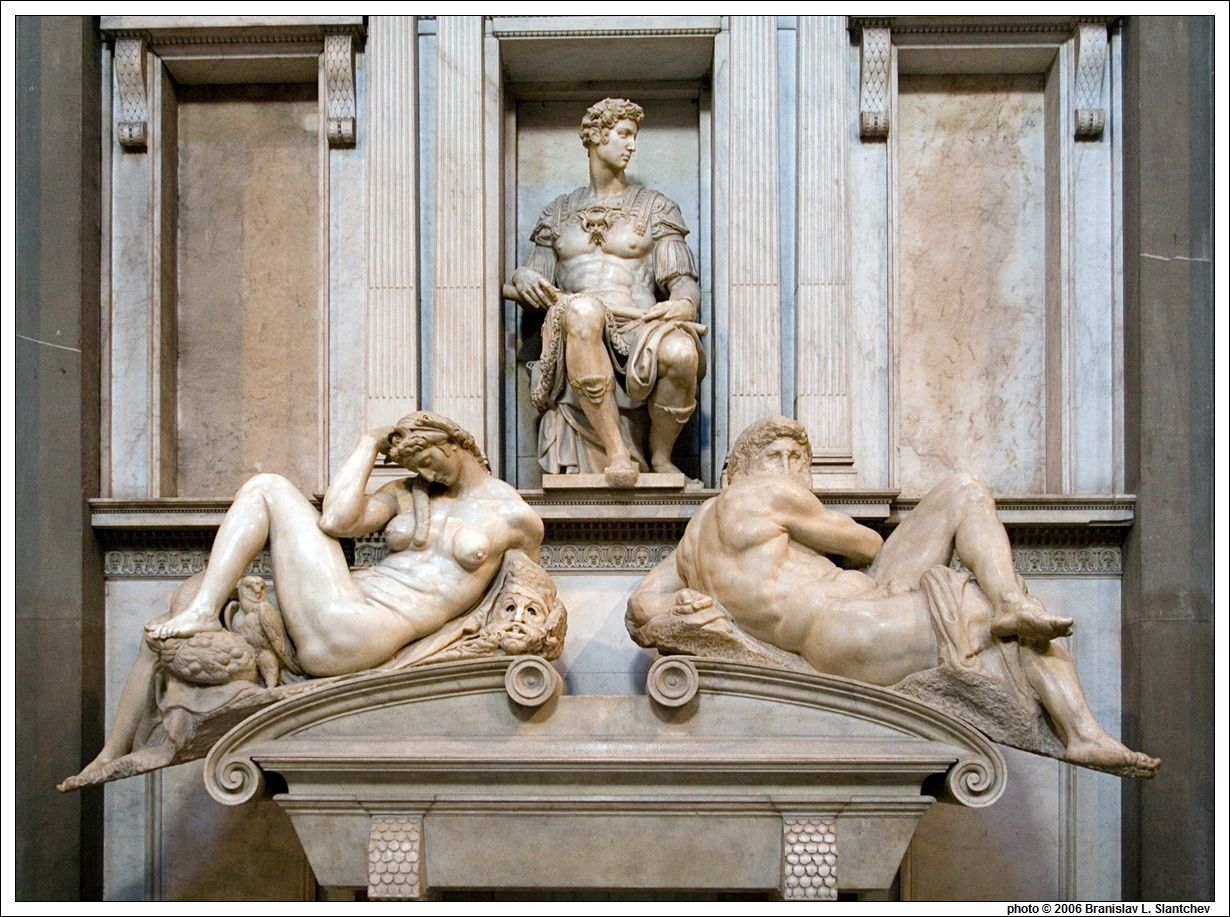 Italy: Florence:  Michelangelo's Tomb of Giuliano Di Lorenzo De' Medici with Night and Day at Sagrestia Nuova in Cappelle Medicee