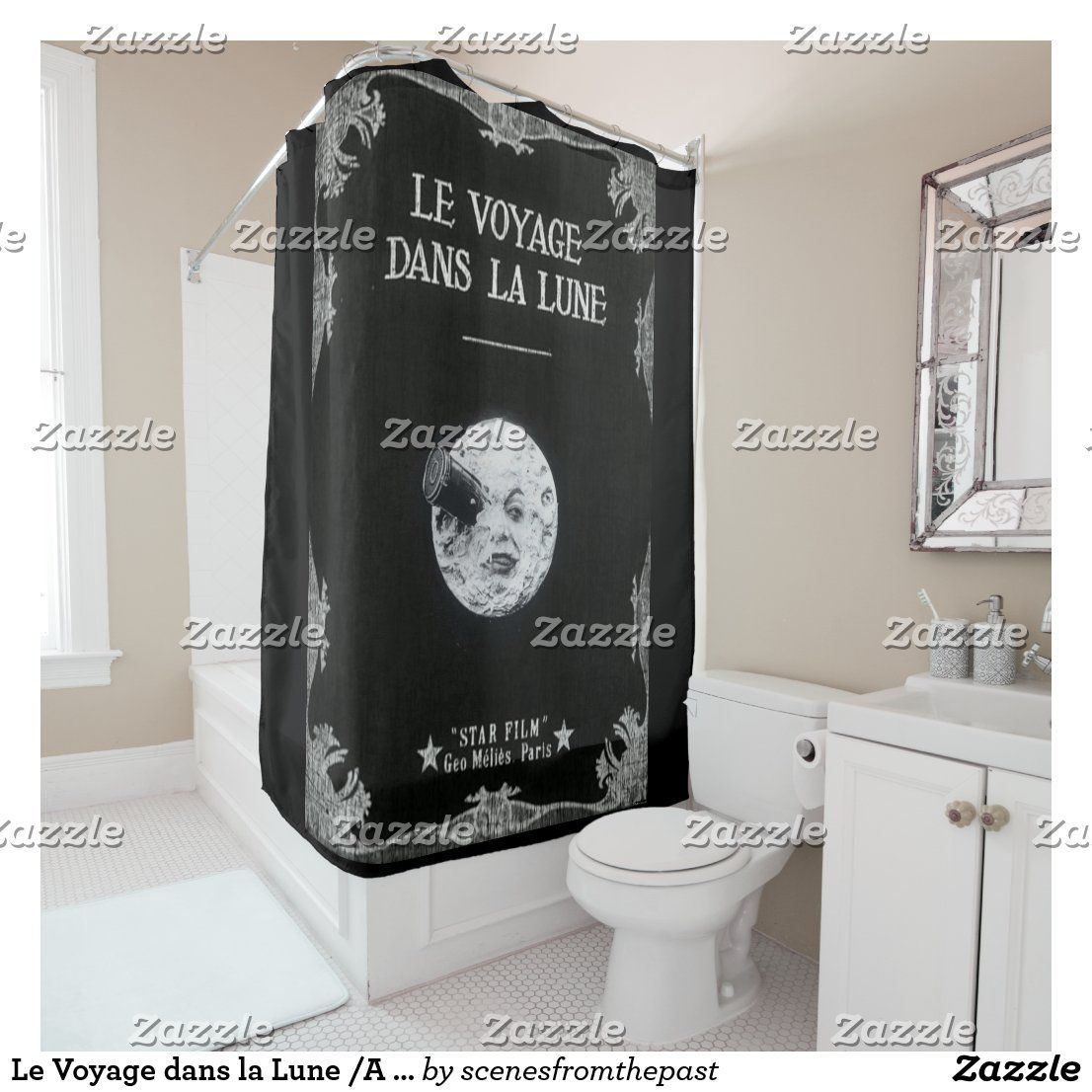 Le Voyage dans la Lune /A Trip to the Moon Shower Curtain