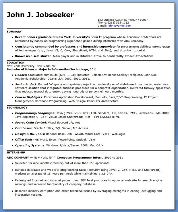 Sample Computer Programmer Resume (Entry-Level) Creative Resume - objective for resume entry level