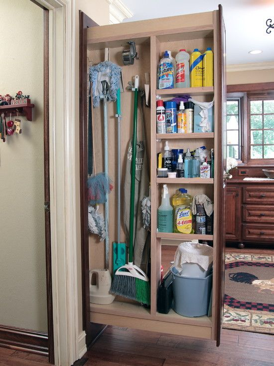 Elegant Pull Out Broom Storage With Shelving Units For House Cleaning Supplies