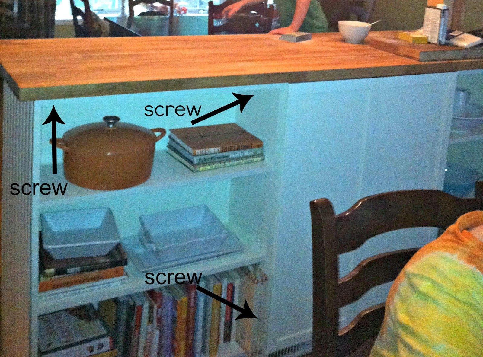 Bookshelves Turned Kitchen Island Ikea Hack (more details) | Ikea ...
