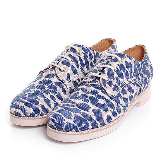 [gram] womens blue leopard canvas